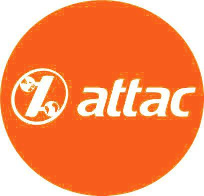 Button, 3,2 cm - original Attac-Orange