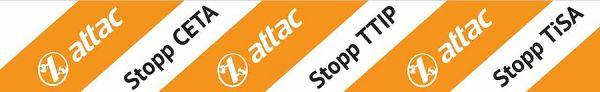 Absperrband Stopp CETA, TTIP, TiSA