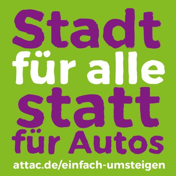 Aufkleber, 10 cm: Stadt für alle statt für Autos