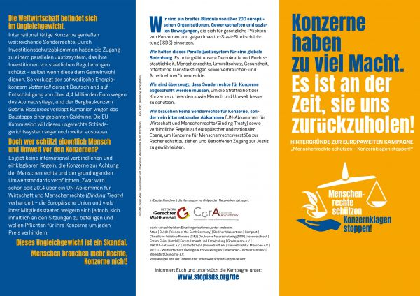 Flyer: Menschenrechte schützen... Stop ISDS