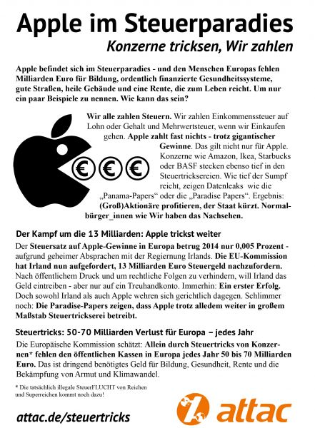 Flyer: Steuertrickser Apple