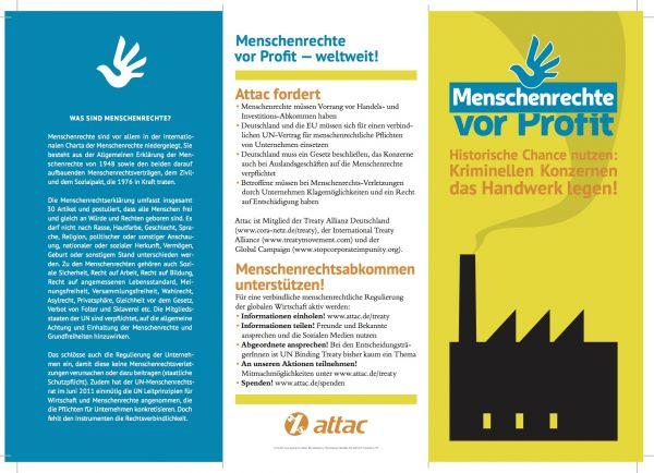 Flyer: Menschenrechte vor Profit