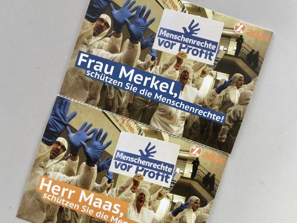 """Aktions-Postkarte """"Menschenrechte vor Profit"""" / an Merkel & Maas"""