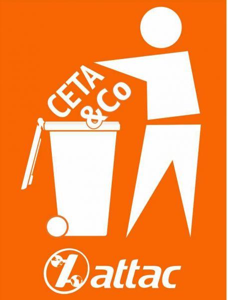 Fahne: CETA & Co in die Tonne, 60x80 cm
