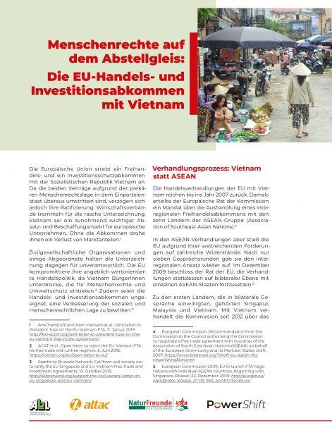 Infopapier: Handelsabkommen EU/Vietnam - Menschenrechte