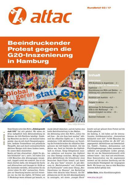 Rundbrief 2017/03: Beeindruckender Protest gegen die G20-Inszenierung in Hamburg