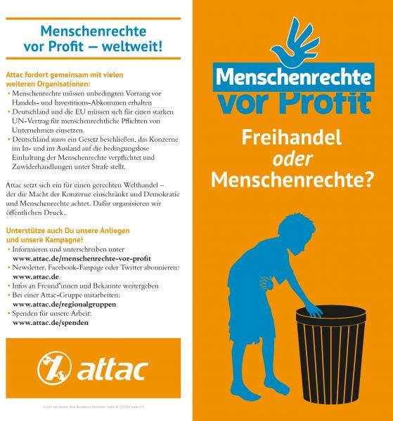 Faltblatt/Flyer: Freihandel oder Menschenrechte?