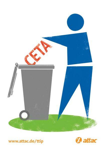 Aufkleber: CETA in die Tonne