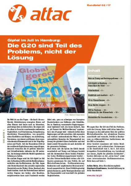 Rundbrief 2017/02: G20: Teil des Problems, nicht der Lösung!