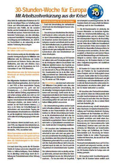 Faltblatt: 30–Stunden-Woche für Europa - Mit Arbeitszeitverkürzung aus der Krise!