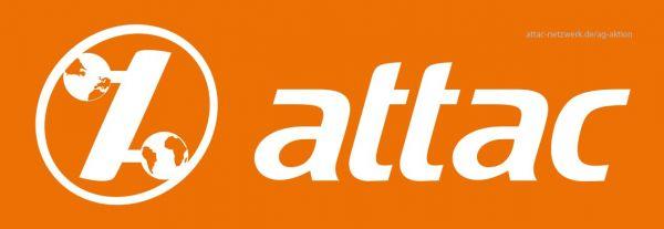 Attac-Aufkleber: orange/Logo weiß, 3,5 x 10,5 cm