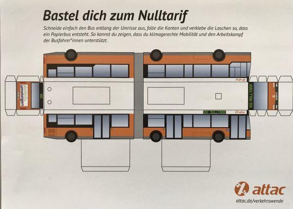 """Bus-Bastelbogen: """"Bastel Dich zum Nulltarif"""""""