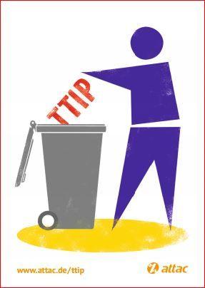 Aufkleber: TTIP in die Tonne