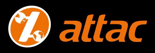Attac-Aufkleber: schwarz/Logo orange, 3,5 x 10,5 cm