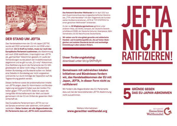 Bündnisflyer: JEFTA nicht ratifizieren