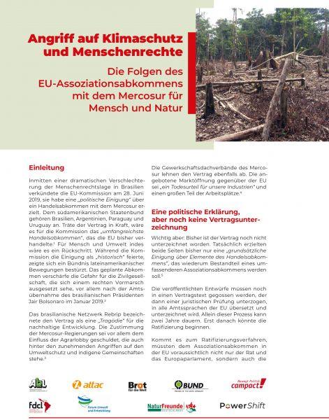 Infopapier: EU-Mercosur – Angriff auf Klimaschutz und Menschenrechte