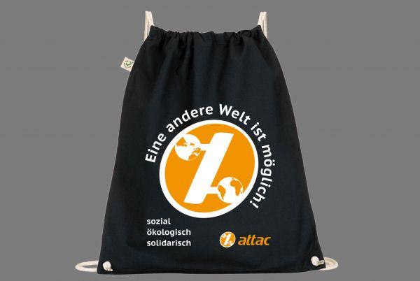 Attac-Turnbeutel, schwarz, öko-fair