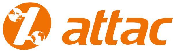 Attac-Aufkleber: weiß/Logo orange, 3,5 x 10,5 cm