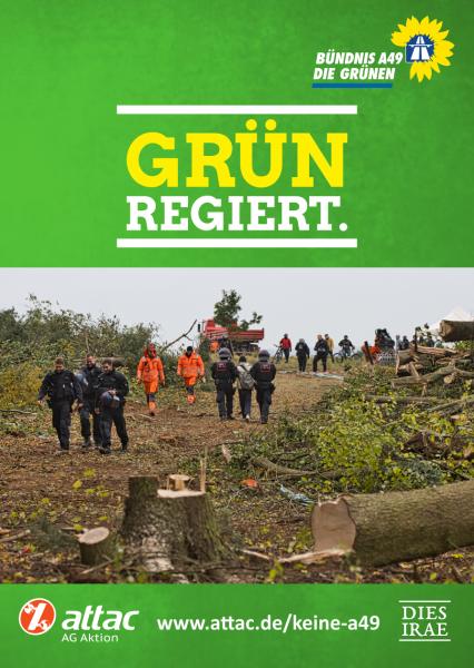 """Aufkleber """"Grün regiert"""" – Gefällter Baum im Danni"""