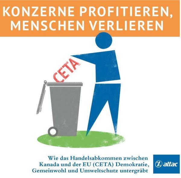 Faltblatt/Flyer: CETA in die Tonne