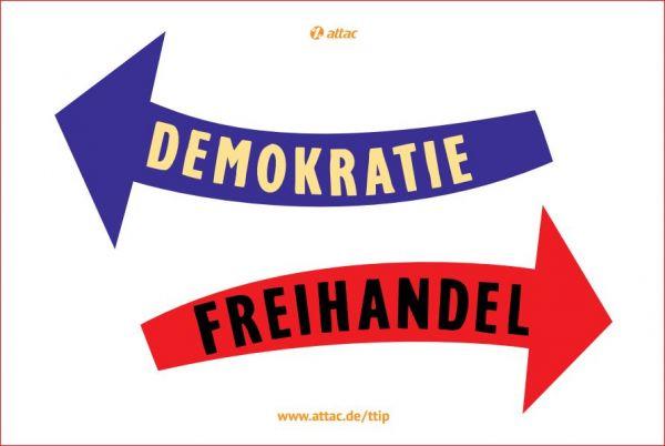 Fahne: Freihandel vs. Demokratie