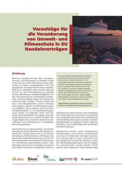 Infopapier: Umwelt- und Klimaschutz in EU-Handelsverträgen