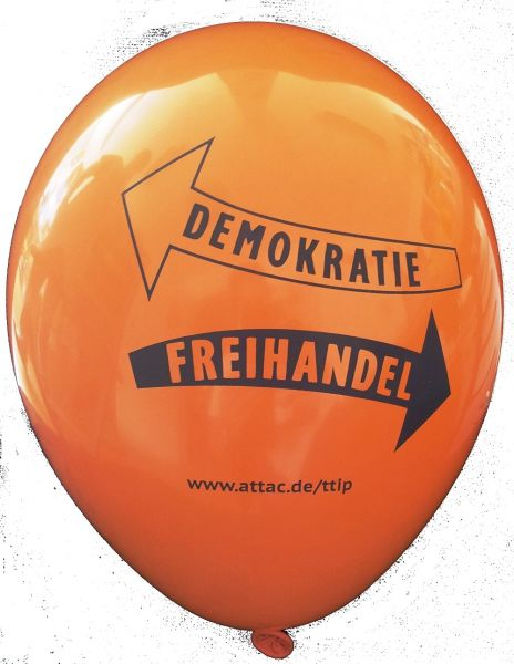 Luftballon: Demokratie vs. Freihandel, orange
