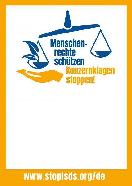 Plakat: Menschenrechte schützen... Stop ISDS