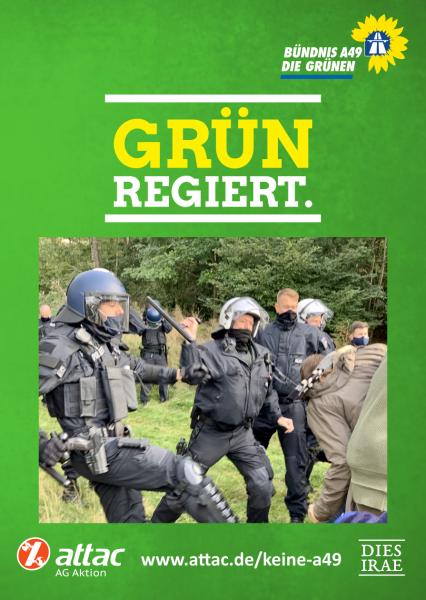 """Aufkleber """"Grün regiert"""" – Polizeigewalt im Danni"""